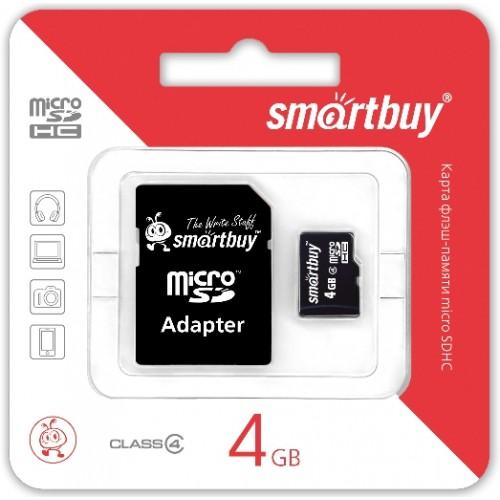 Карта памяти 4GB Smartbuy micro SDHC class 4 с адаптером SD