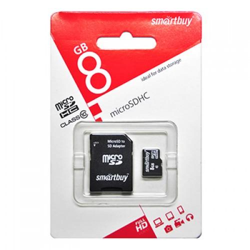Карта памяти 8GB Smartbuy micro SDHC class 10 с адаптером SD