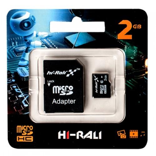Карта памяти micro SD HI-RALI 2 GB (с адаптером SD)