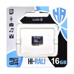 Карта памяти micro SDHC HI-RALI 16GB class 10 (без адаптеров)