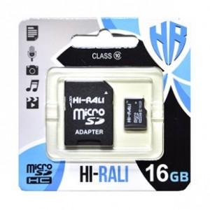 Карта памяти micro SDHC HI-RALI 16GB class 10 (с адаптером)