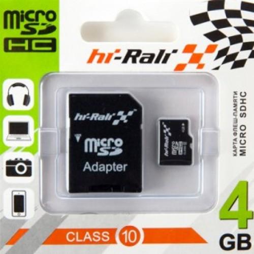 Карта памяти micro SDHC HI-RALI  4GB class 10 (с адаптером SD)