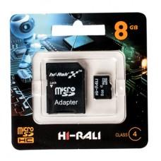 Карта памяти micro SDHC HI-RALI  8GB class 4 (с адаптером)