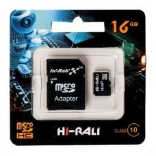Карта памяти micro SDHC (UHS-1) HI-RALI 16GB class 10 (с адаптером)