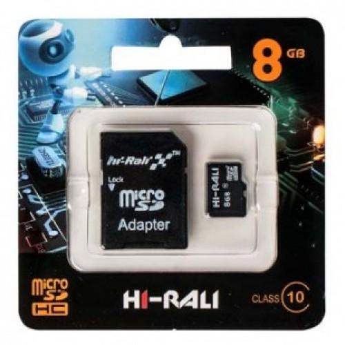 Карта памяти micro SDHC (UHS-1) HI-RALI 8GB class 10 (с адаптером)