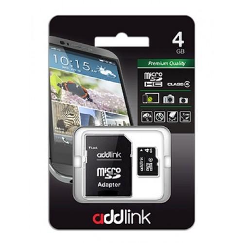 Карта памяти microSD AddLink 4GB (Class4+Adapter)