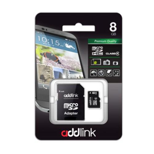 Карта памяти microSD AddLink 8GB (Class4+Adapter)