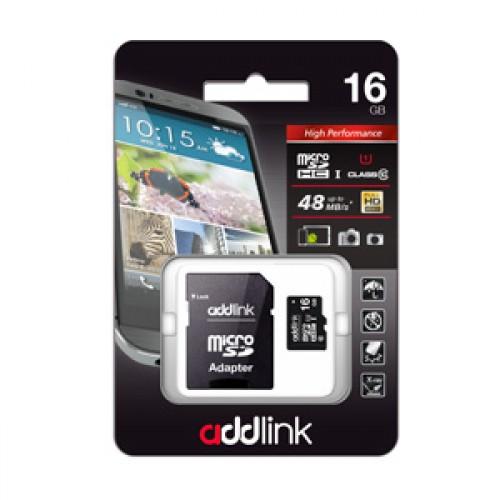 Карта памяти microSD UHS1 AddLink 16GB (Class10+Adapter)