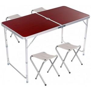 Стіл-чемодан розкладний 120х60 см похідний з 4 стільцями (стіл для пікніка)