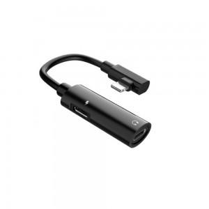 Переходник Hoco LS18 Dual Lightning audio converter Black