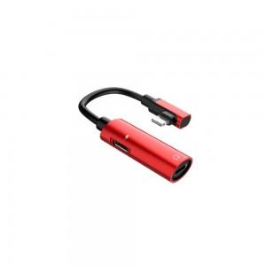 Переходник Hoco LS18 Dual Lightning audio converter Red