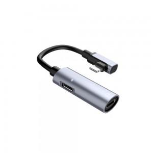 Переходник Hoco LS18 Dual Lightning audio converter Silver