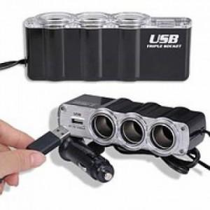 Разветвитель прикуривателя WF-0120 + USB