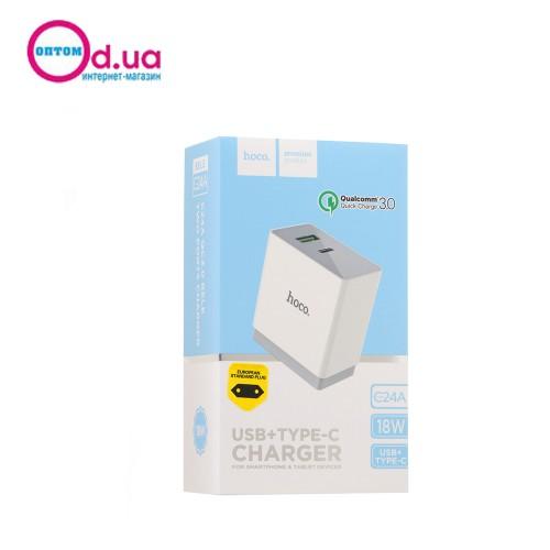 Сетевое зарядное устройство HOCO C24A BELE QC3.0 1USB+TYPE-C