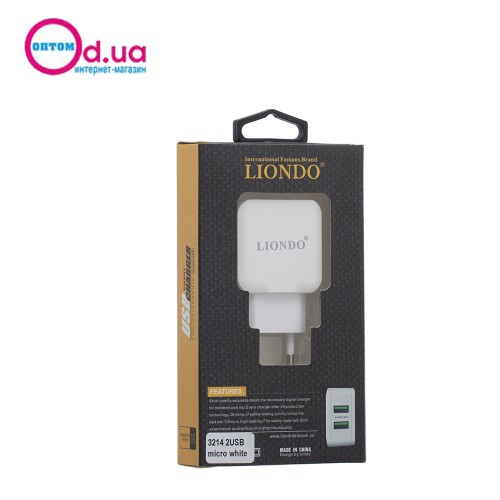 Сетевое зарядное устройство LIONDO 3214 Micro 2USB 2.4A