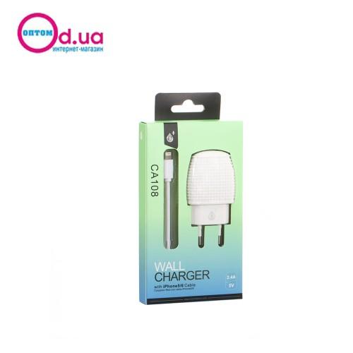 Сетевое зарядное устройство MTK CA108 LightNinG 1USB 2.4A