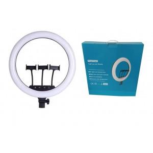 Кільцева лампа Kinscoter 45 см, 220, 12 V, 3 кріплення для телефону (металаві), пульт, без штативу
