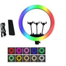 Кольцевая LED лампа RGB MJ36 (36см, 3 крепление, управление на проводе+пульт)