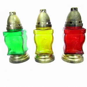 Лампадка стеклянная со свечой Mix color
