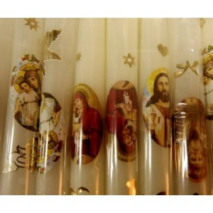 """Свічка з наклейкою """"Великдень"""" білі, 25 см"""