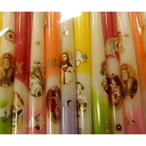 """Свічка з наклейкою """"Великдень"""" різнокольорові, 25 см"""