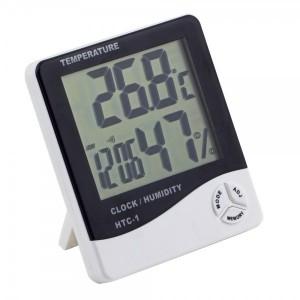 Термометр гігрометр з годинником і будильником HTC-1