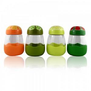 Термокружка из стекла  в силиконовой защите с крышкой Fruits (BH18052)