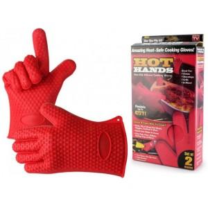 Перчатки-прихватки силиконовые 7707, красные