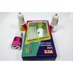 Зарядное устройство 12V 2 USB круглая рефлённая в цвете