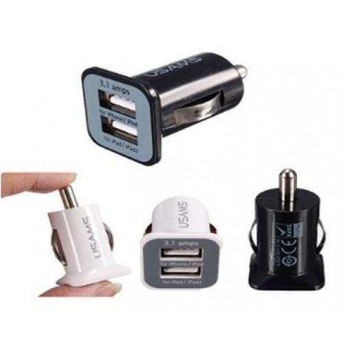 Зарядное устройство автомобильное 2 USB 1000/2100 mAh (без упаковки)