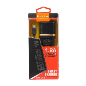 Зарядное устройство сетевое RDX-012 BLACK 1USB 1200 mAh (без кабеля)