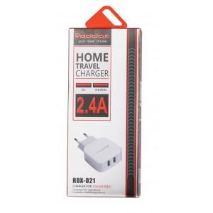 Зарядное устройство сетевое RDX-21 WHITE 2USB 2400 mAh (без кабеля)