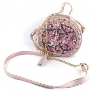Женская круглая сумка с пайетками 125 Pink (уценка)