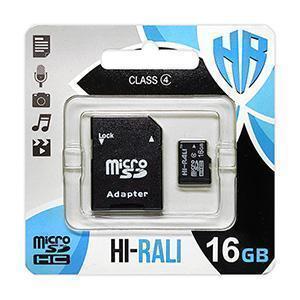 Карта пам'яти microSDHC 16GB class 4 Hi-Rali (з адаптером)
