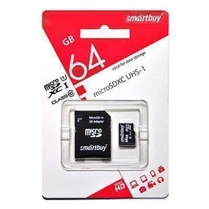 micro SDHC (UHS-3) карта памяти Smartbuy 64GB Class10 (с адаптером SD)