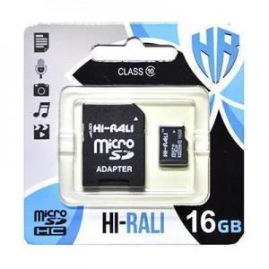 Карта пам'яти microSDHC (UHS-1) 16GB class 10 Hi-Rali (з адаптером)