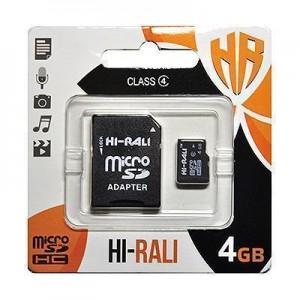 Карта пам'яти microSDHC 4GB class 4 Hi-Rali (з адаптером)