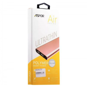 Power Bank Aspor- A383 10000mAh (2USB/1A+2.1А) Ultrathin, metal- розовое золото