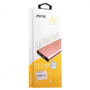 Power Bank Aspor- A383 10000mAh (2USB/1A+2.1А) Ultrathin, metal- серебро