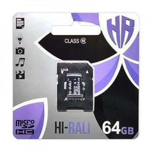 Карта пам'яти microSDHC 64GB class 10 Hi-Rali (с адаптером)
