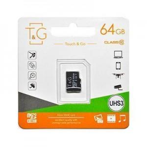 Карта пам'яти microSDHC (UHS-3) 64GB class 10 T&G (без адаптерів)