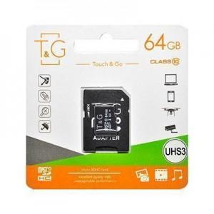 micro SDHC (UHS-3) карта памяти T&G 64GB class 10 (без адаптеров)