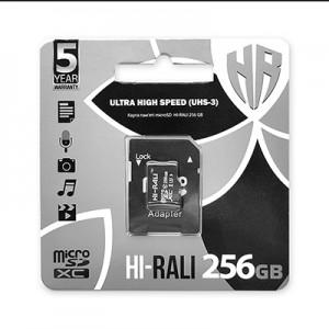 Карта пам'яти microSDXC (UHS-3) HI-RALI 256GB class 10 (з адаптером)