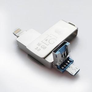 Накопичувач 3.0 USB + Lightning + microUSB 16GB T&G металева серія 004