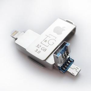 Накопичувач 3.0 USB + Lightning +microUSB 32GB T&G металева серія 004