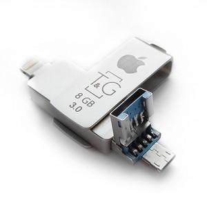 Накопичувач 3.0 USB + Lightning + microUSB 8GB T&G металева серія 004
