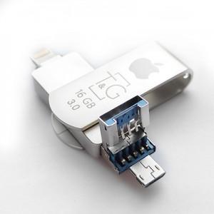 Накопичувач 3.0 USB + Lightning + microUSB 16GB T&G металева серія 007