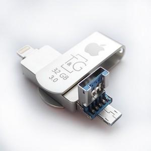Накопичувач 3.0 USB + Lightning + microUSB 32GB T&G металева серія 007