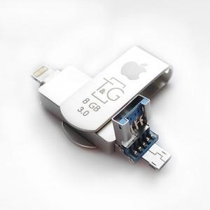 Накопичувач 3.0 USB + Lightning + microUSB 8GB T&G металева серія 007