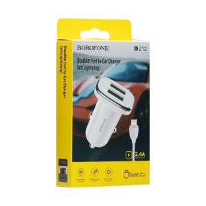 Авто Зарядное Устройство Borofone BZ12 2.4A Lightning 2 USB